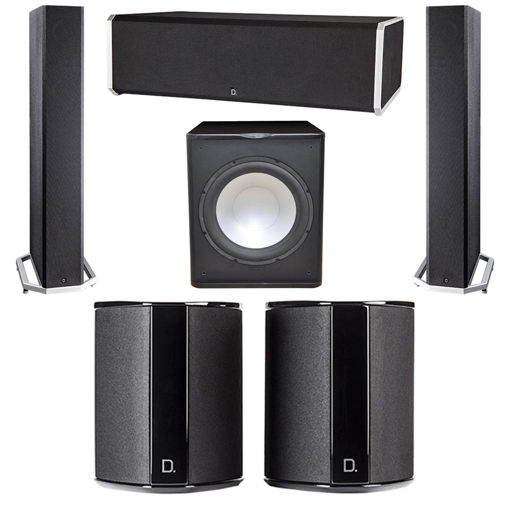 Definitive Technology 5.1 System with 2 BP9040 Tower Speakers, 1 CS9080 Center Channel Speaker, 2 SR9040 Surround Speaker, 1 Premier Acoustic PA-150 Subwoofer