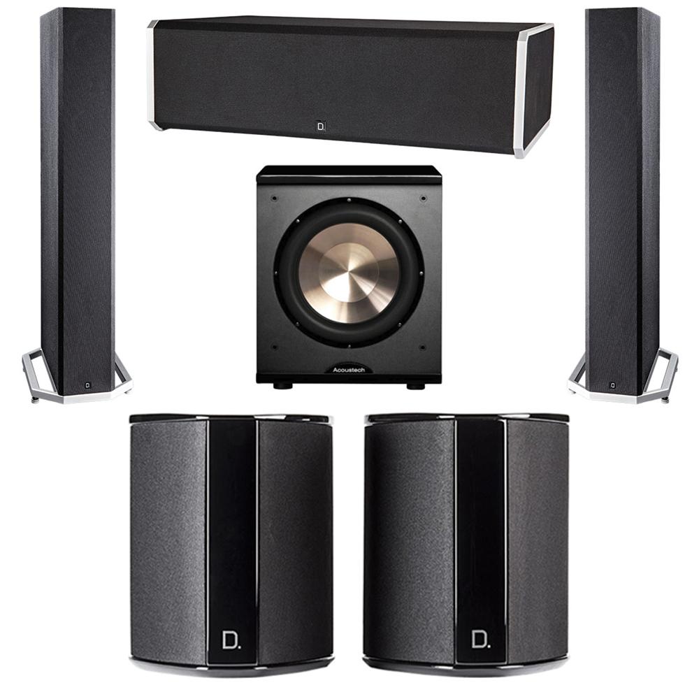 Definitive Technology 5.1 System with 2 BP9040 Tower Speakers, 1 CS9080 Center Channel Speaker, 2 SR9040 Surround Speaker, 1 BIC PL-200 Subwoofer