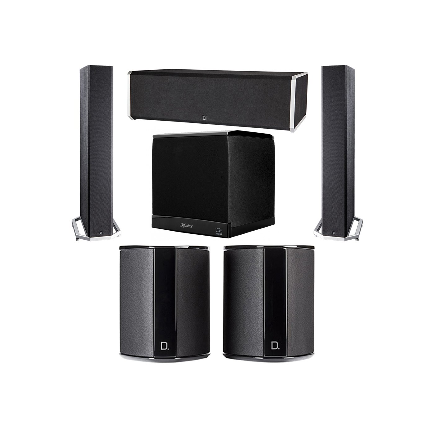 Definitive Technology 5.1 System with 2 BP9040 Tower Speakers, 1 CS9080 Center Channel Speaker, 2 SR9040 Surround Speaker, 1 Definitive Technology SuperCube 4000 Powered Subwoofer