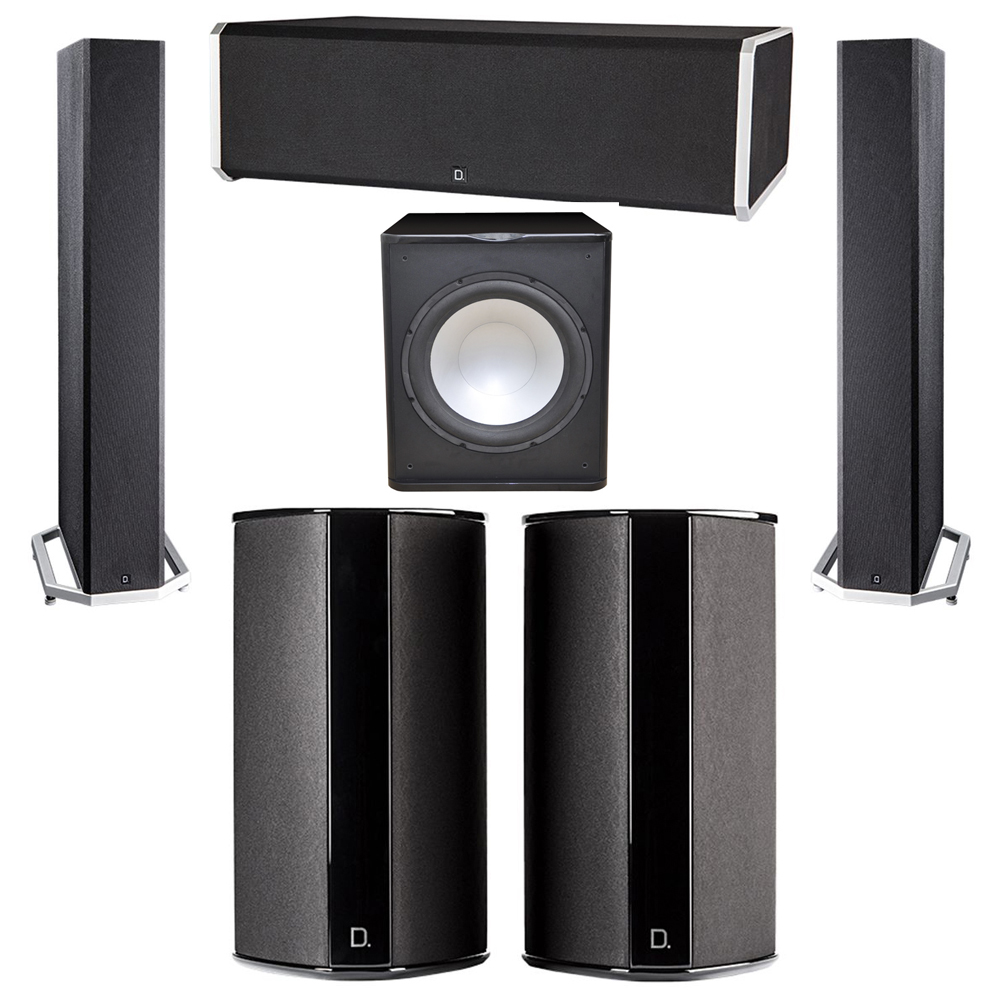 Definitive Technology 5.1 System with 2 BP9040 Tower Speakers, 1 CS9080 Center Channel Speaker, 2 SR9080 Surround Speaker, 1 Premier Acoustic PA-150 Subwoofer
