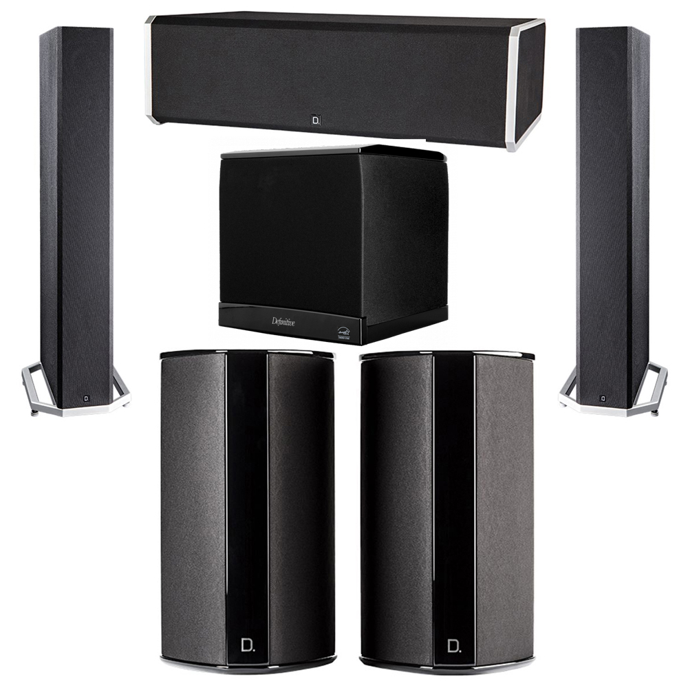 Definitive Technology 5.1 System with 2 BP9040 Tower Speakers, 1 CS9080 Center Channel Speaker, 2 SR9080 Surround Speaker, 1 Definitive Technology SuperCube 4000 Powered Subwoofer
