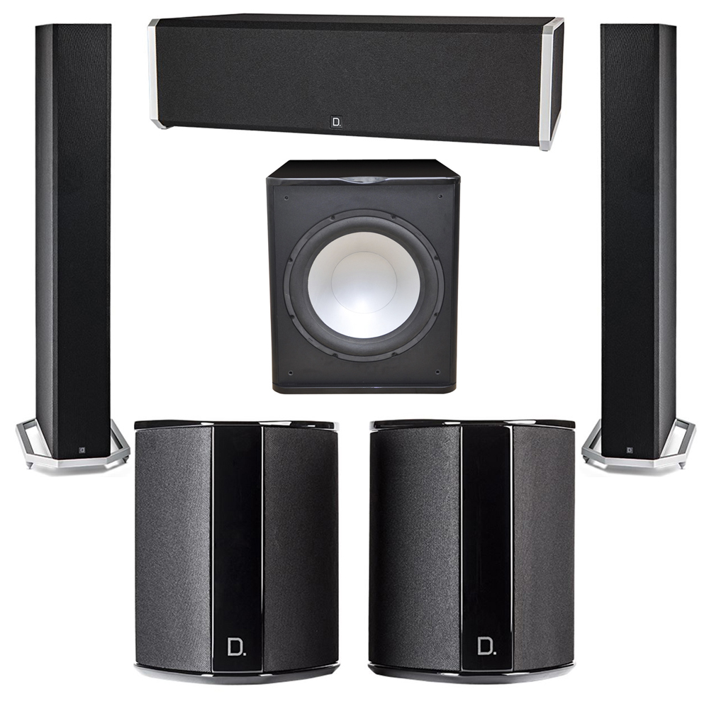Definitive Technology 5.1 System with 2 BP9060 Tower Speakers, 1 CS9040 Center Channel Speaker, 2 SR9040 Surround Speaker, 1 Premier Acoustic PA-150 Subwoofer