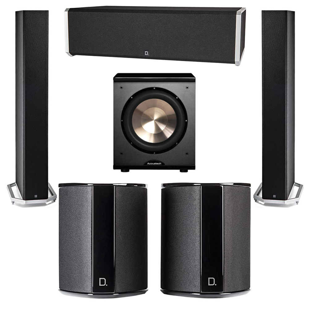 Definitive Technology 5.1 System with 2 BP9060 Tower Speakers, 1 CS9040 Center Channel Speaker, 2 SR9040 Surround Speaker, 1 BIC PL-200 Subwoofer