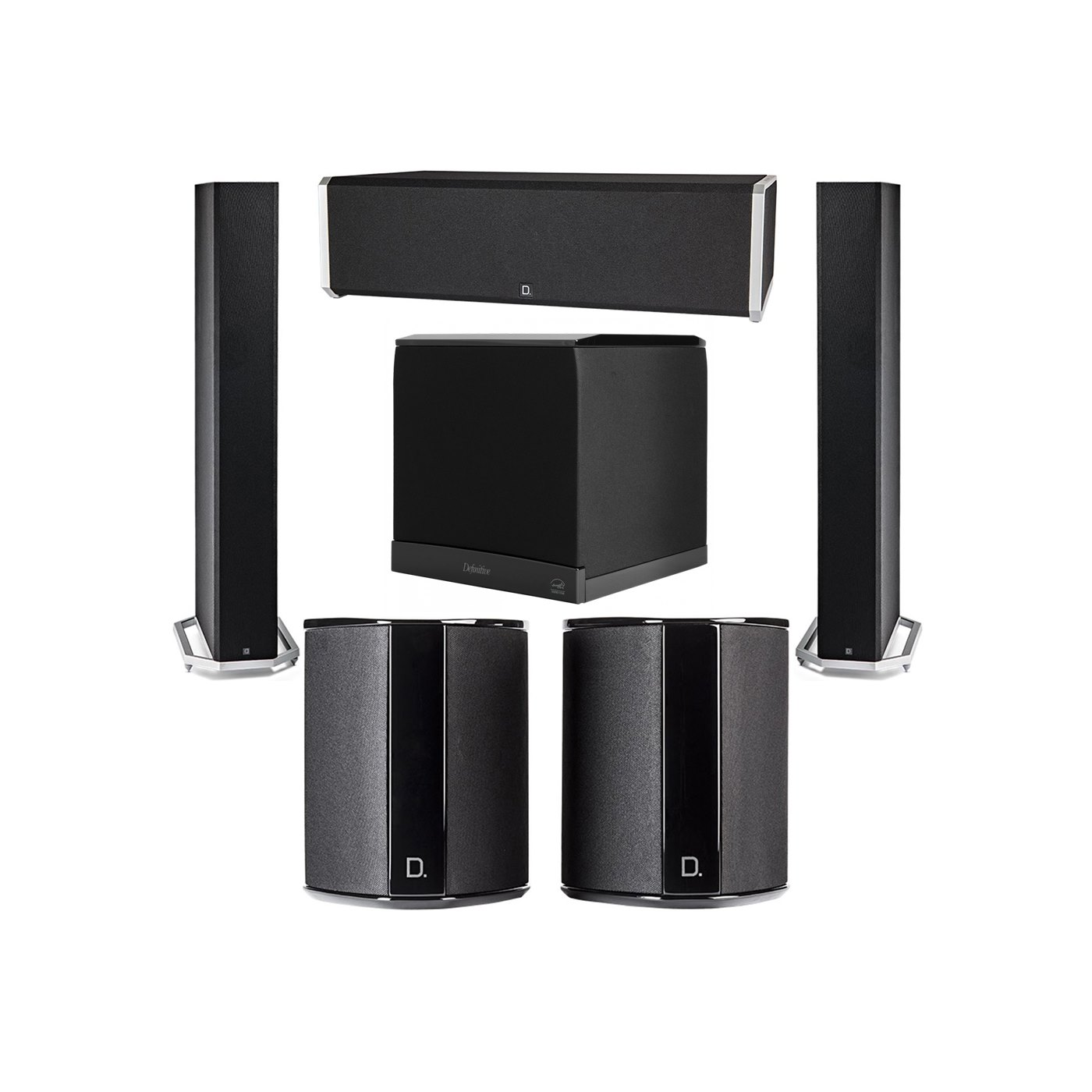 Definitive Technology 5.1 System with 2 BP9060 Tower Speakers, 1 CS9040 Center Channel Speaker, 2 SR9040 Surround Speaker, 1 Definitive Technology SuperCube 6000 Powered Subwoofer