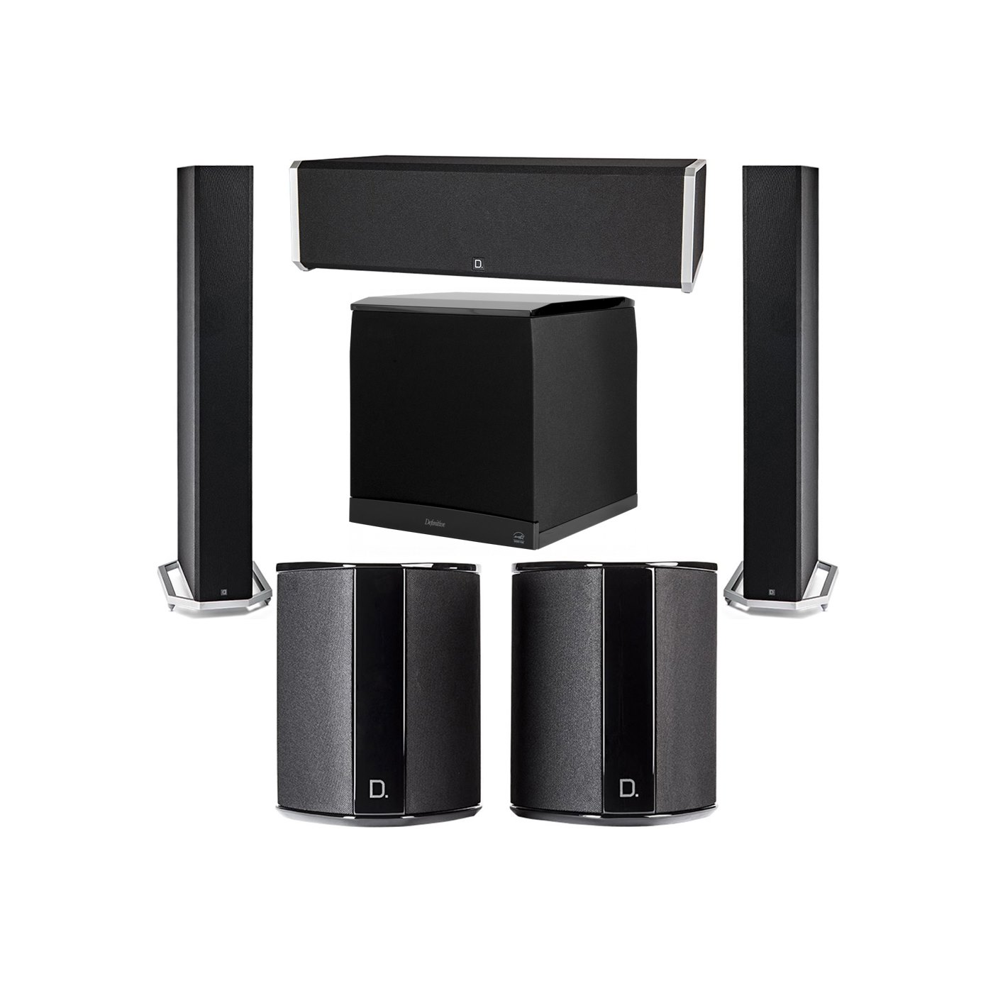 Definitive Technology 5.1 System with 2 BP9060 Tower Speakers, 1 CS9040 Center Channel Speaker, 2 SR9040 Surround Speaker, 1 Definitive Technology SuperCube 8000 Powered Subwoofer