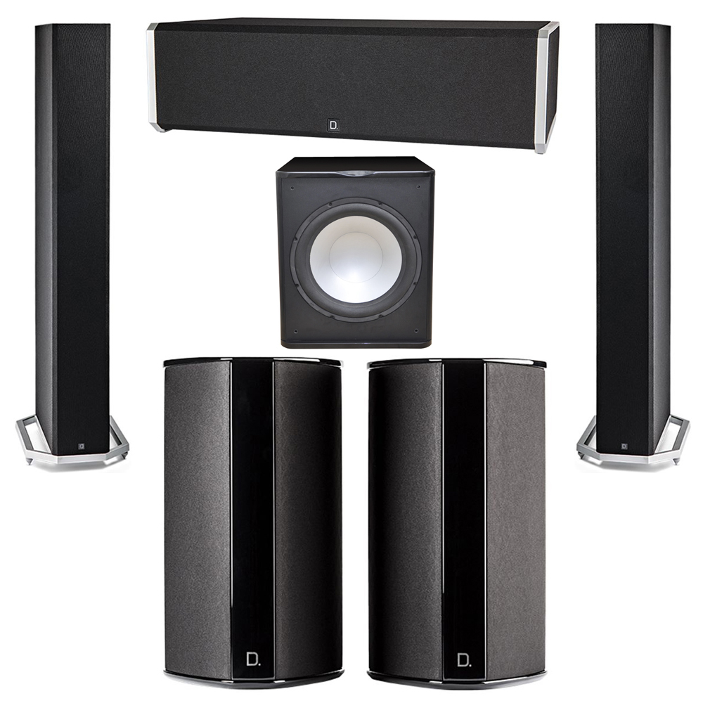 Definitive Technology 5.1 System with 2 BP9060 Tower Speakers, 1 CS9040 Center Channel Speaker, 2 SR9080 Surround Speaker, 1 Premier Acoustic PA-150 Subwoofer