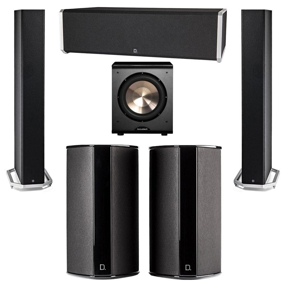 Definitive Technology 5.1 System with 2 BP9060 Tower Speakers, 1 CS9040 Center Channel Speaker, 2 SR9080 Surround Speaker, 1 BIC PL-200 Subwoofer