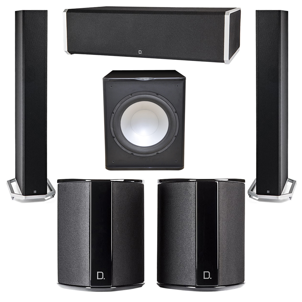 Definitive Technology 5.1 System with 2 BP9060 Tower Speakers, 1 CS9060 Center Channel Speaker, 2 SR9040 Surround Speaker, 1 Premier Acoustic PA-150 Subwoofer