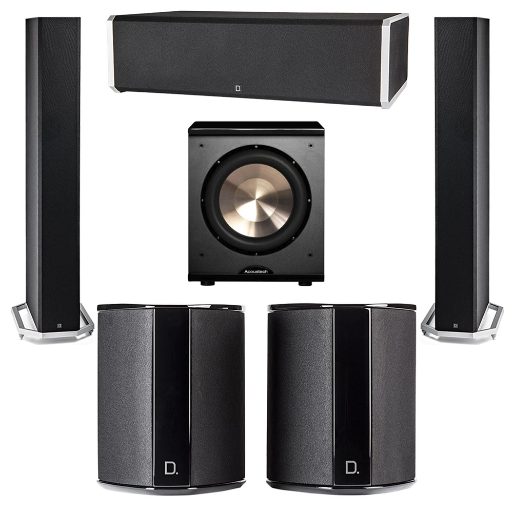 Definitive Technology 5.1 System with 2 BP9060 Tower Speakers, 1 CS9060 Center Channel Speaker, 2 SR9040 Surround Speaker, 1 BIC PL-200 Subwoofer