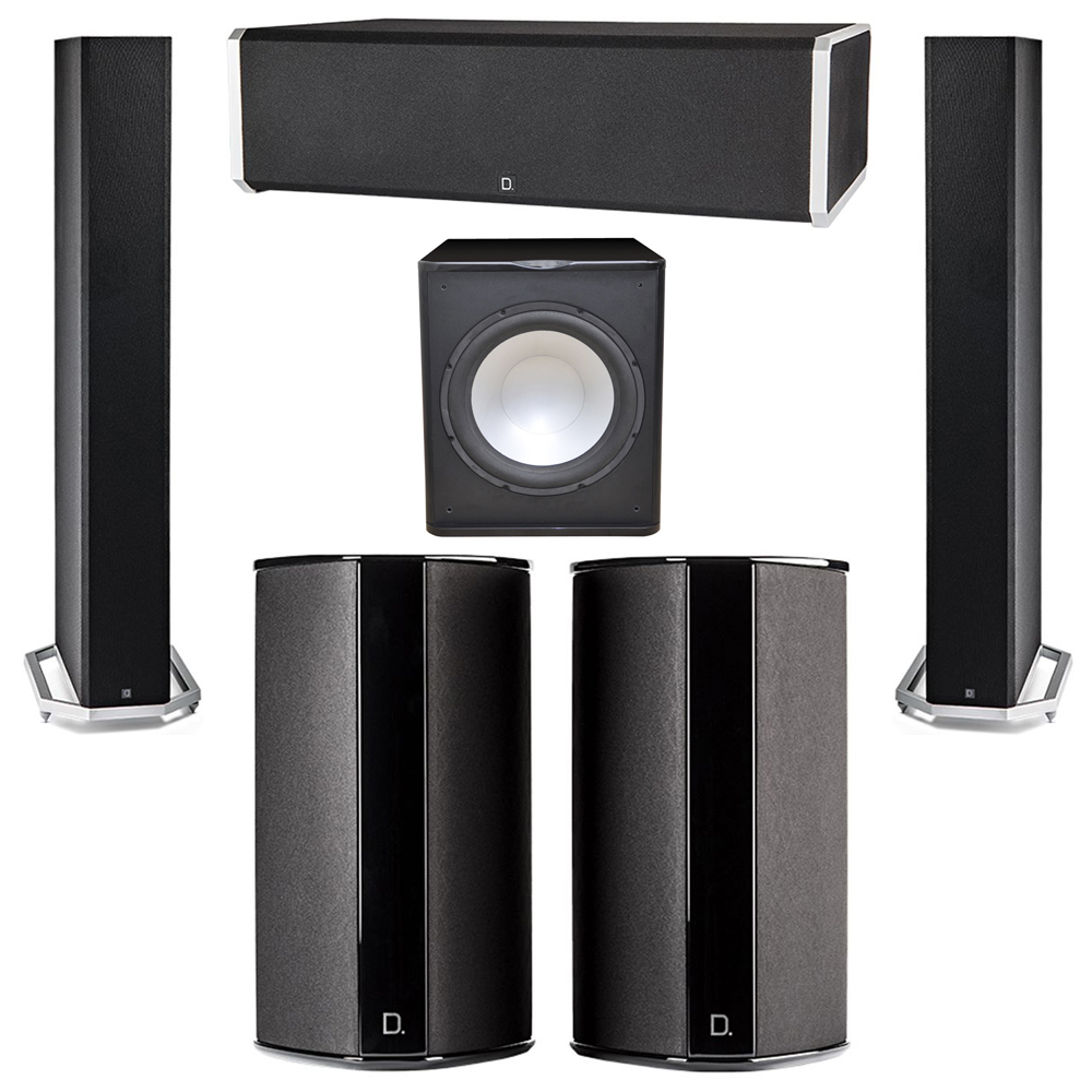 Definitive Technology 5.1 System with 2 BP9060 Tower Speakers, 1 CS9060 Center Channel Speaker, 2 SR9080 Surround Speaker, 1 Premier Acoustic PA-150 Subwoofer