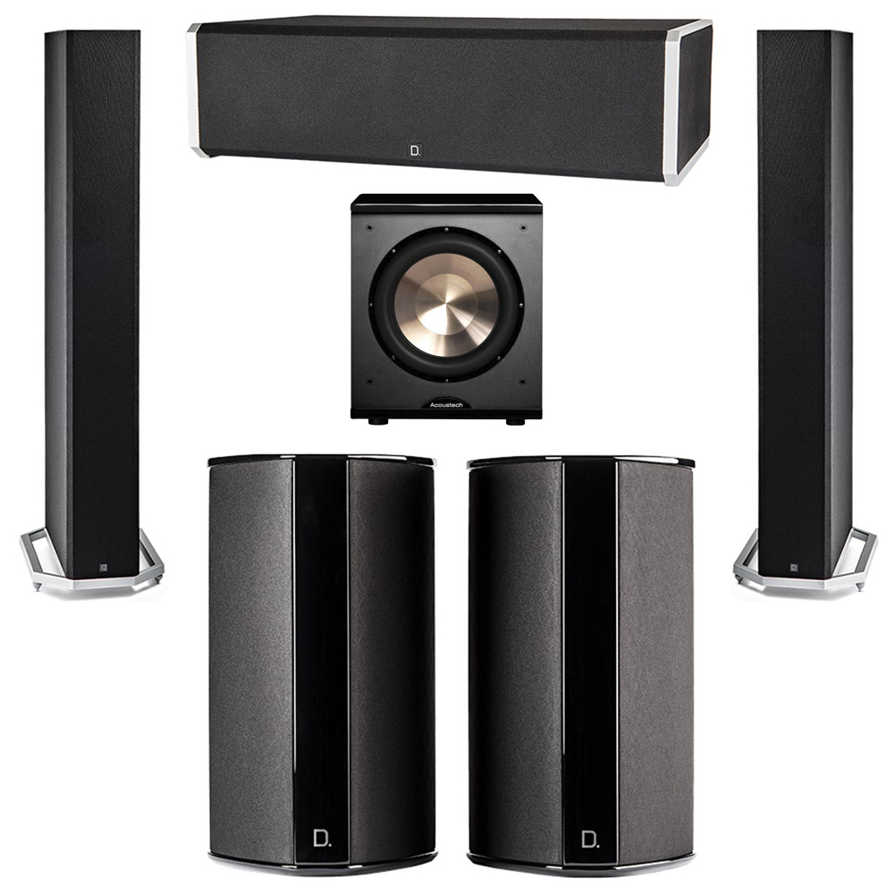 Definitive Technology 5.1 System with 2 BP9060 Tower Speakers, 1 CS9060 Center Channel Speaker, 2 SR9080 Surround Speaker, 1 BIC PL-200 Subwoofer