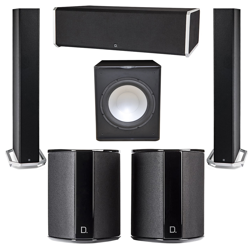 Definitive Technology 5.1 System with 2 BP9060 Tower Speakers, 1 CS9080 Center Channel Speaker, 2 SR9040 Surround Speaker, 1 Premier Acoustic PA-150 Subwoofer