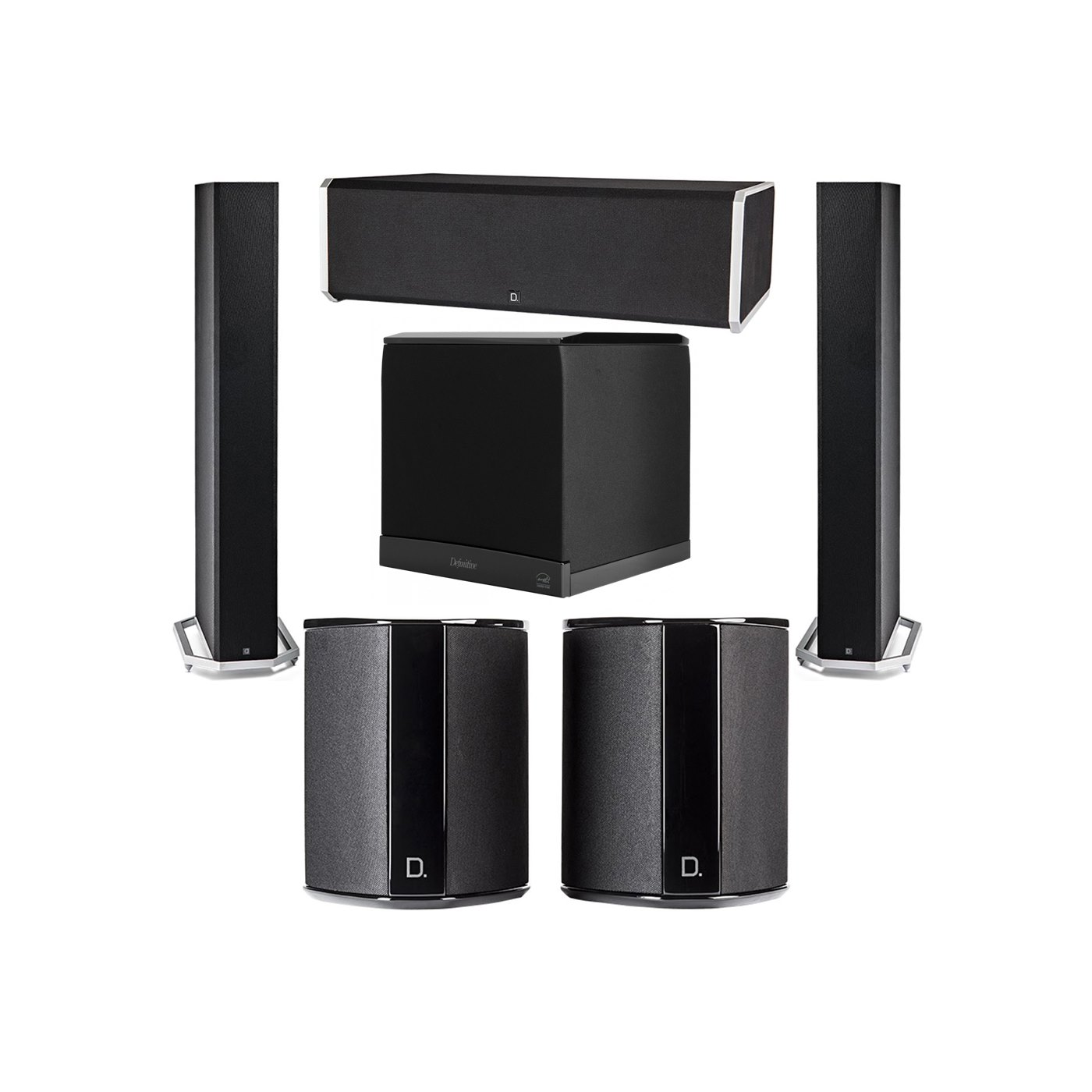 Definitive Technology 5.1 System with 2 BP9060 Tower Speakers, 1 CS9080 Center Channel Speaker, 2 SR9040 Surround Speaker, 1 Definitive Technology SuperCube 6000 Powered Subwoofer