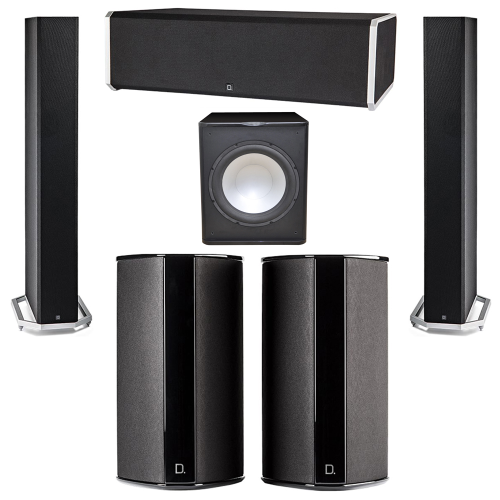 Definitive Technology 5.1 System with 2 BP9060 Tower Speakers, 1 CS9080 Center Channel Speaker, 2 SR9080 Surround Speaker, 1 Premier Acoustic PA-150 Subwoofer