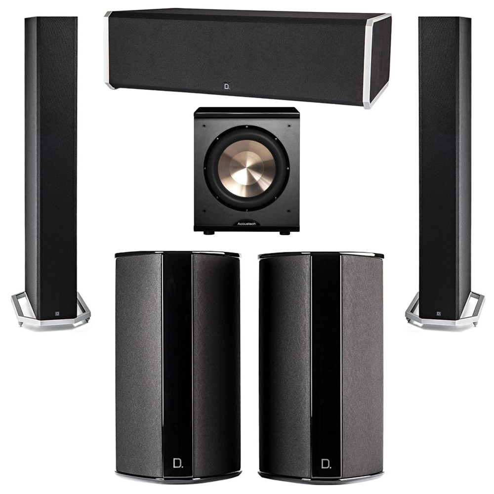 Definitive Technology 5.1 System with 2 BP9060 Tower Speakers, 1 CS9080 Center Channel Speaker, 2 SR9080 Surround Speaker, 1 BIC PL-200 Subwoofer