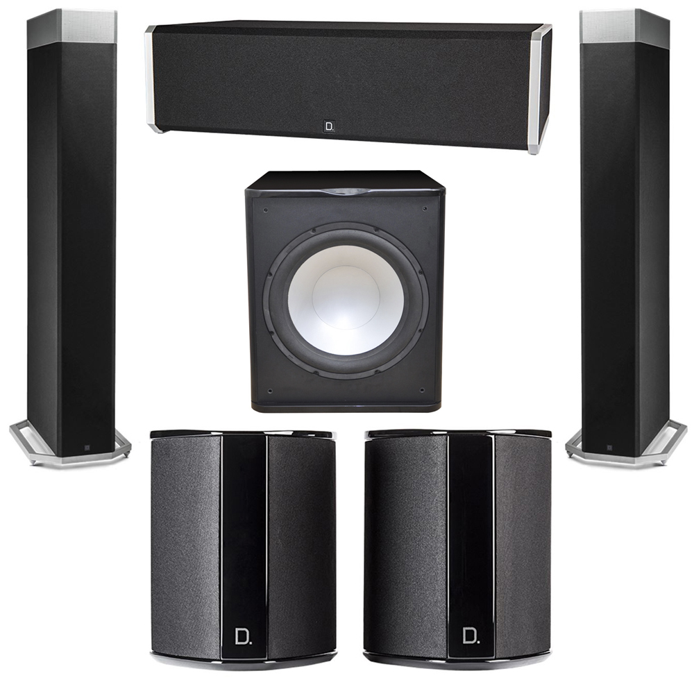 Definitive Technology 5.1 System with 2 BP9080X Tower Speakers, 1 CS9040 Center Channel Speaker, 2 SR9040 Surround Speaker, 1 Premier Acoustic PA-150 Subwoofer