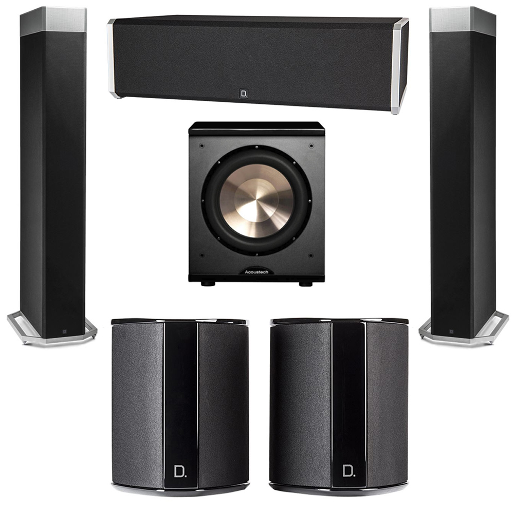 Definitive Technology 5.1 System with 2 BP9080X Tower Speakers, 1 CS9040 Center Channel Speaker, 2 SR9040 Surround Speaker, 1 BIC PL-200 Subwoofer