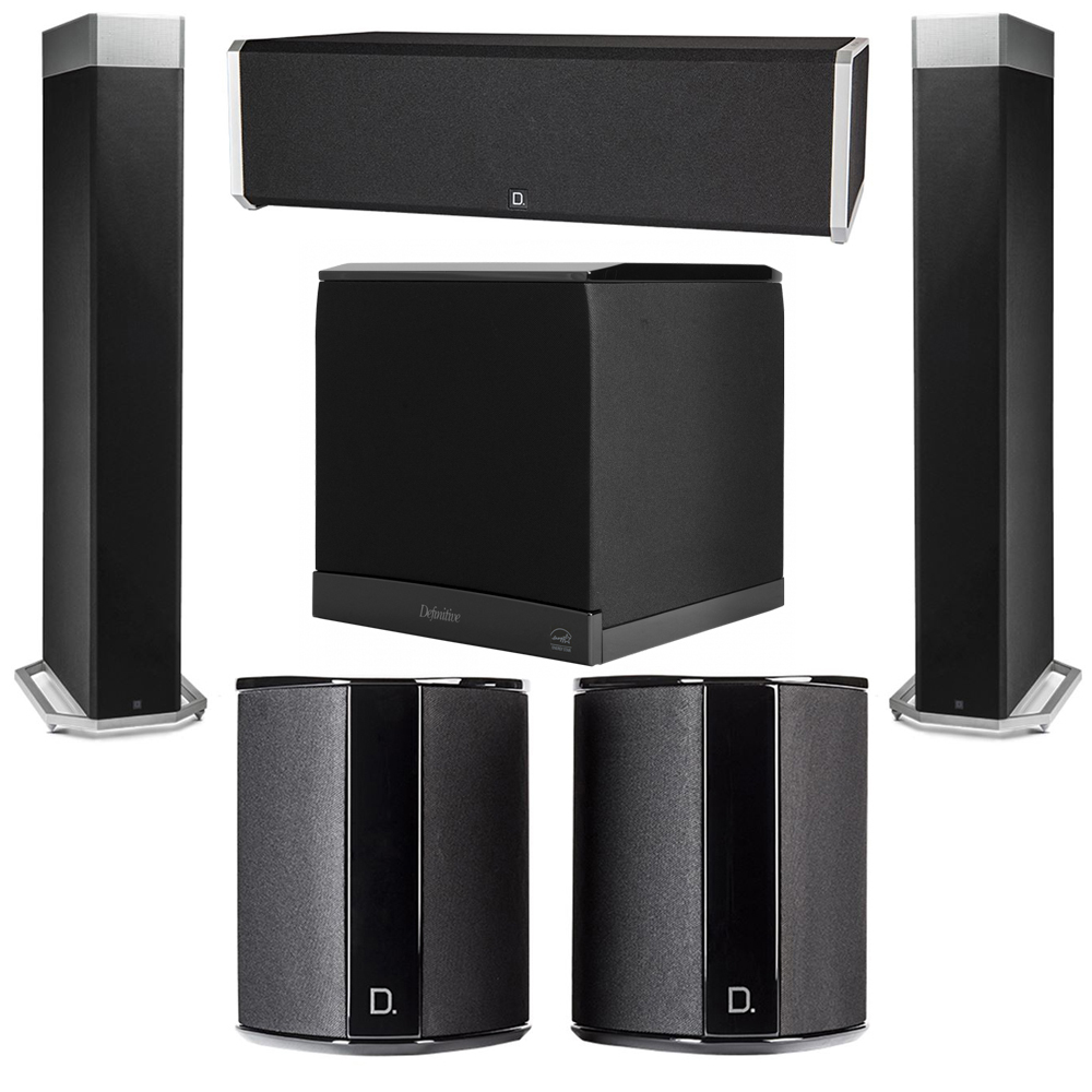 Definitive Technology 5.1 System with 2 BP9080X Tower Speakers, 1 CS9040 Center Channel Speaker, 2 SR9040 Surround Speaker, 1 Definitive Technology SuperCube 6000 Powered Subwoofer
