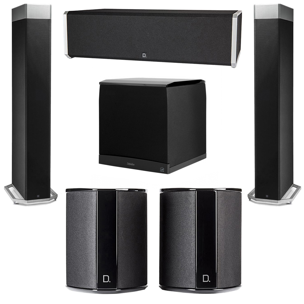 Definitive Technology 5.1 System with 2 BP9080X Tower Speakers, 1 CS9040 Center Channel Speaker, 2 SR9040 Surround Speaker, 1 Definitive Technology SuperCube 8000 Powered Subwoofer