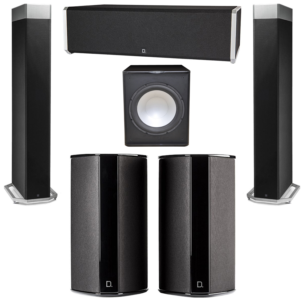 Definitive Technology 5.1 System with 2 BP9080X Tower Speakers, 1 CS9040 Center Channel Speaker, 2 SR9080 Surround Speaker, 1 Premier Acoustic PA-150 Subwoofer