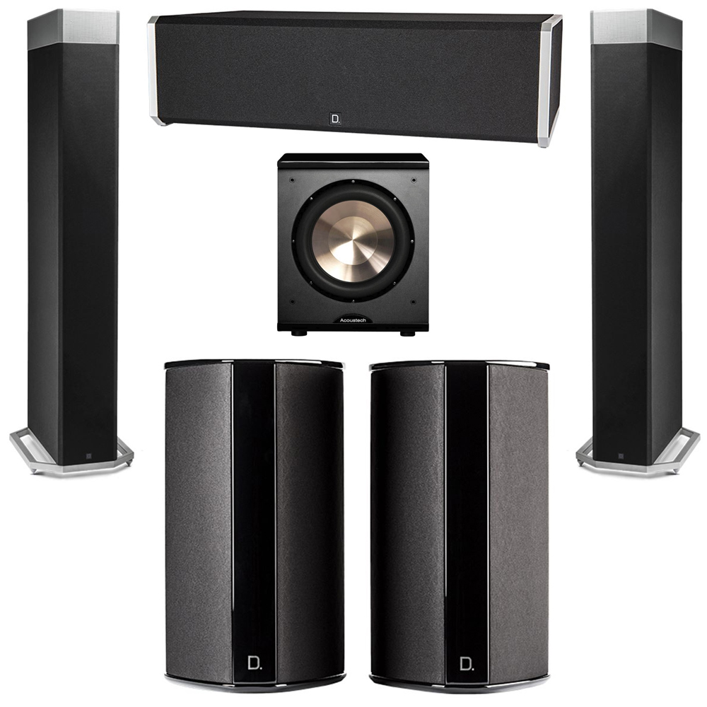 Definitive Technology 5.1 System with 2 BP9080X Tower Speakers, 1 CS9040 Center Channel Speaker, 2 SR9080 Surround Speaker, 1 BIC PL-200 Subwoofer