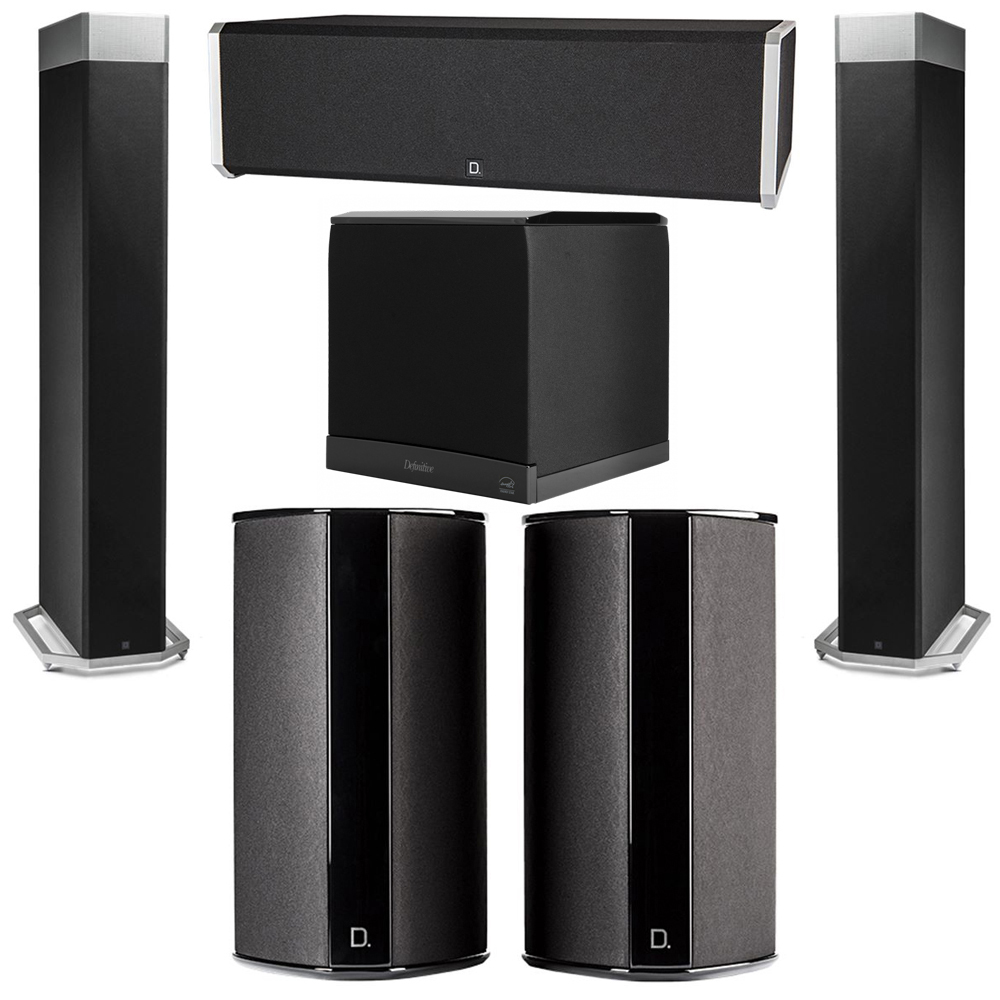 Definitive Technology 5.1 System with 2 BP9080X Tower Speakers, 1 CS9040 Center Channel Speaker, 2 SR9080 Surround Speaker, 1 Definitive Technology SuperCube 6000 Powered Subwoofer