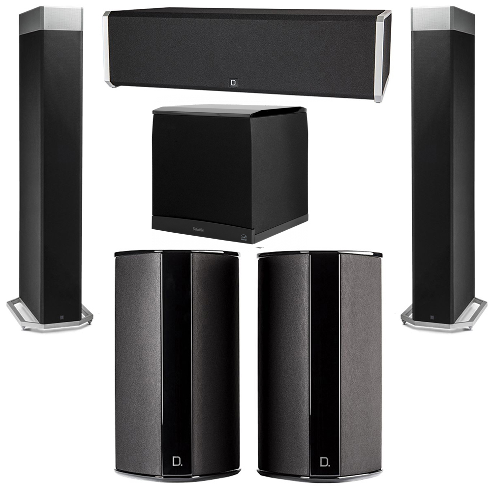 Definitive Technology 5.1 System with 2 BP9080X Tower Speakers, 1 CS9040 Center Channel Speaker, 2 SR9080 Surround Speaker, 1 Definitive Technology SuperCube 8000 Powered Subwoofer