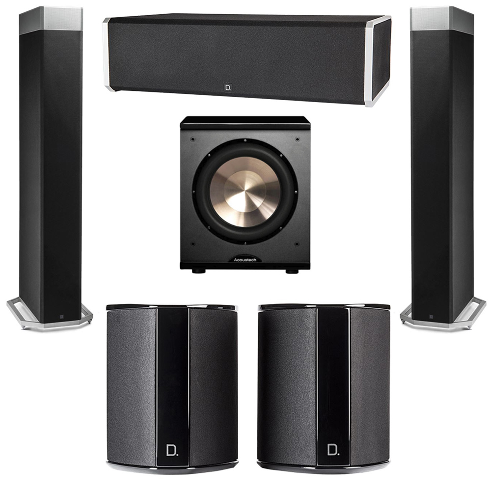 Definitive Technology 5.1 System with 2 BP9080X Tower Speakers, 1 CS9060 Center Channel Speaker, 2 SR9040 Surround Speaker, 1 BIC PL-200 Subwoofer