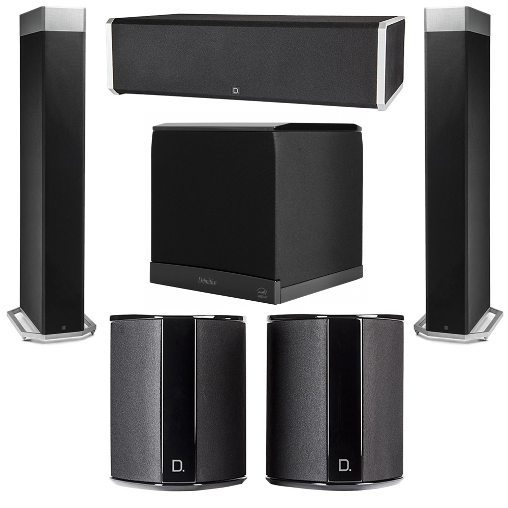 Definitive Technology 5.1 System with 2 BP9080X Tower Speakers, 1 CS9060 Center Channel Speaker, 2 SR9040 Surround Speaker, 1 Definitive Technology SuperCube 6000 Powered Subwoofer