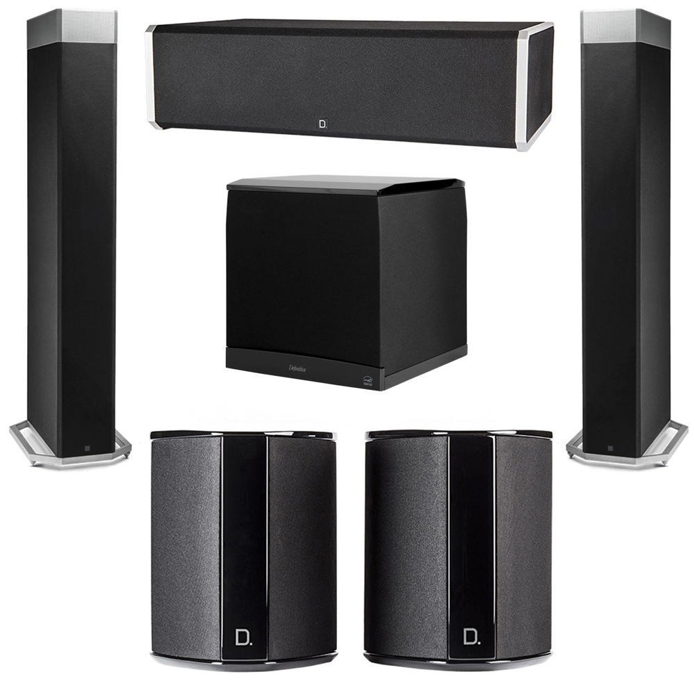 Definitive Technology 5.1 System with 2 BP9080X Tower Speakers, 1 CS9060 Center Channel Speaker, 2 SR9040 Surround Speaker, 1 Definitive Technology SuperCube 8000 Powered Subwoofer