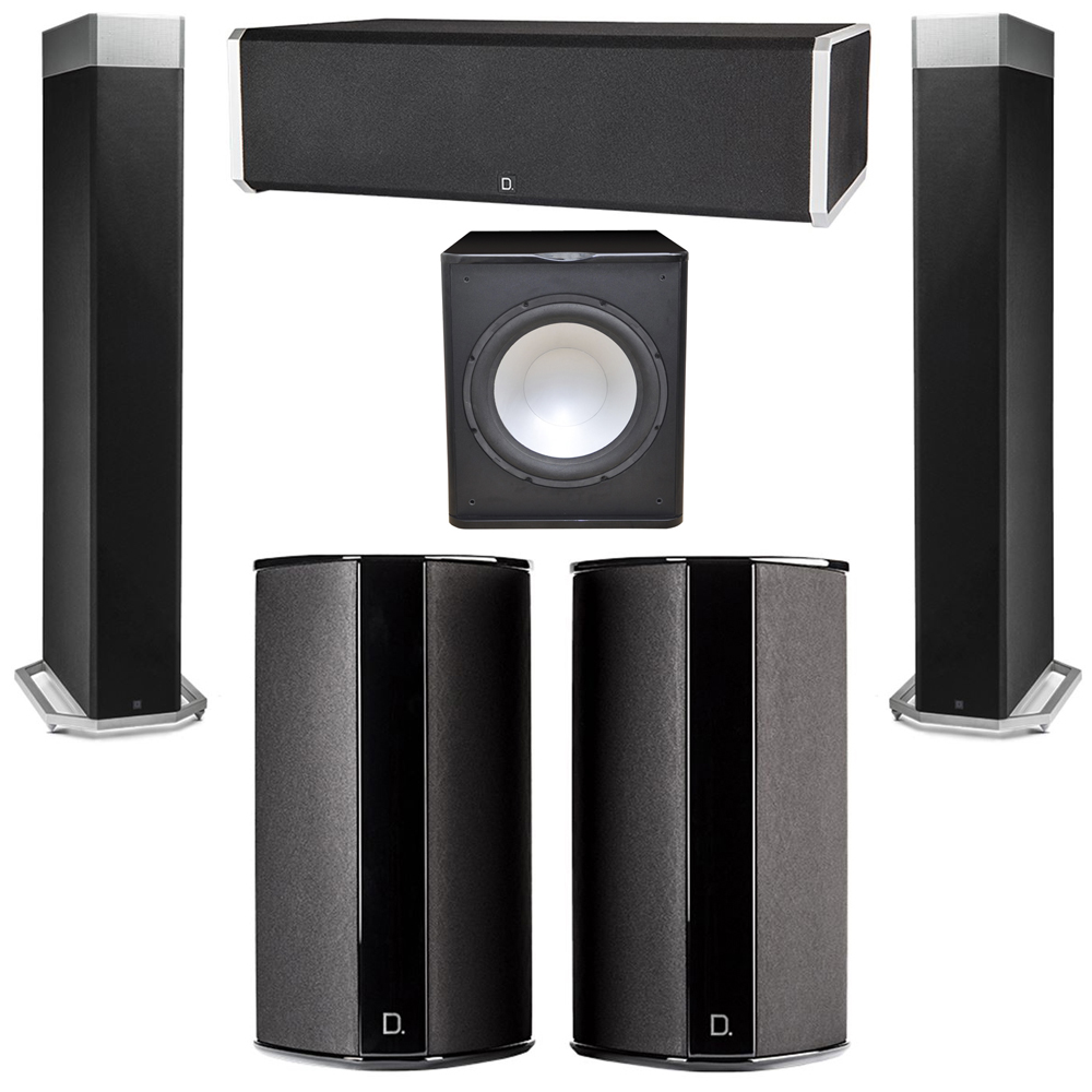 Definitive Technology 5.1 System with 2 BP9080X Tower Speakers, 1 CS9060 Center Channel Speaker, 2 SR9080 Surround Speaker, 1 Premier Acoustic PA-150 Subwoofer
