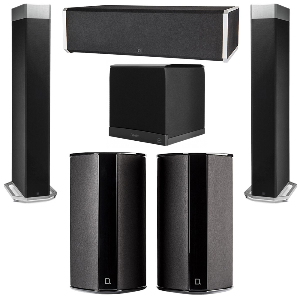 Definitive Technology 5.1 System with 2 BP9080X Tower Speakers, 1 CS9060 Center Channel Speaker, 2 SR9080 Surround Speaker, 1 Definitive Technology SuperCube 6000 Powered Subwoofer