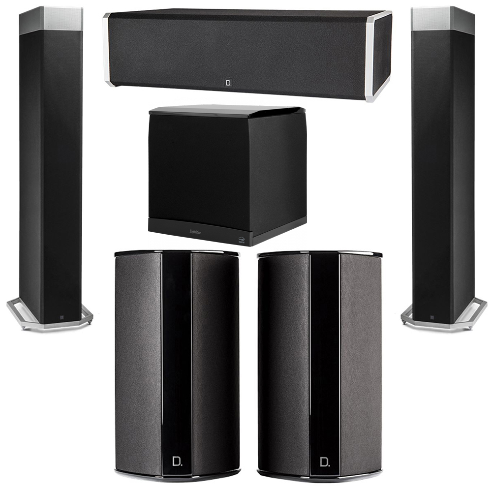 Definitive Technology 5.1 System with 2 BP9080X Tower Speakers, 1 CS9060 Center Channel Speaker, 2 SR9080 Surround Speaker, 1 Definitive Technology SuperCube 8000 Powered Subwoofer