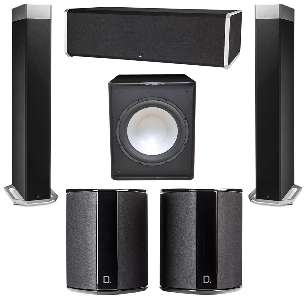 Definitive Technology 5.1 System with 2 BP9080X Tower Speakers, 1 CS9080 Center Channel Speaker, 2 SR9040 Surround Speaker, 1 Premier Acoustic PA-150 Subwoofer