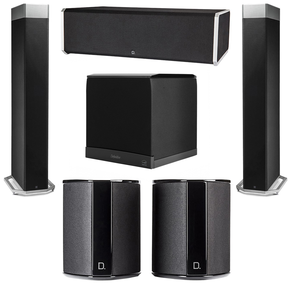 Definitive Technology 5.1 System with 2 BP9080X Tower Speakers, 1 CS9080 Center Channel Speaker, 2 SR9040 Surround Speaker, 1 Definitive Technology SuperCube 6000 Powered Subwoofer