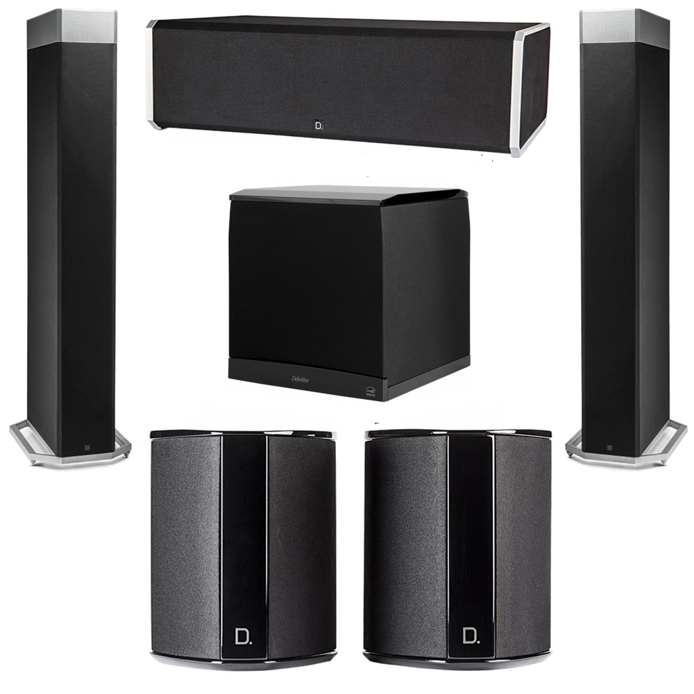 Definitive Technology 5.1 System with 2 BP9080X Tower Speakers, 1 CS9080 Center Channel Speaker, 2 SR9040 Surround Speaker, 1 Definitive Technology SuperCube 8000 Powered Subwoofer