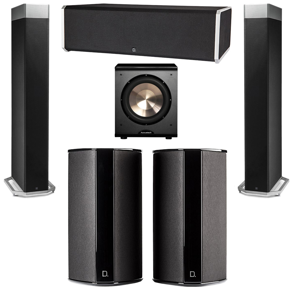 Definitive Technology 5.1 System with 2 BP9080X Tower Speakers, 1 CS9080 Center Channel Speaker, 2 SR9080 Surround Speaker, 1 BIC PL-200 Subwoofer