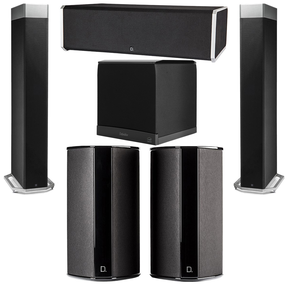 Definitive Technology 5.1 System with 2 BP9080X Tower Speakers, 1 CS9080 Center Channel Speaker, 2 SR9080 Surround Speaker, 1 Definitive Technology SuperCube 6000 Powered Subwoofer