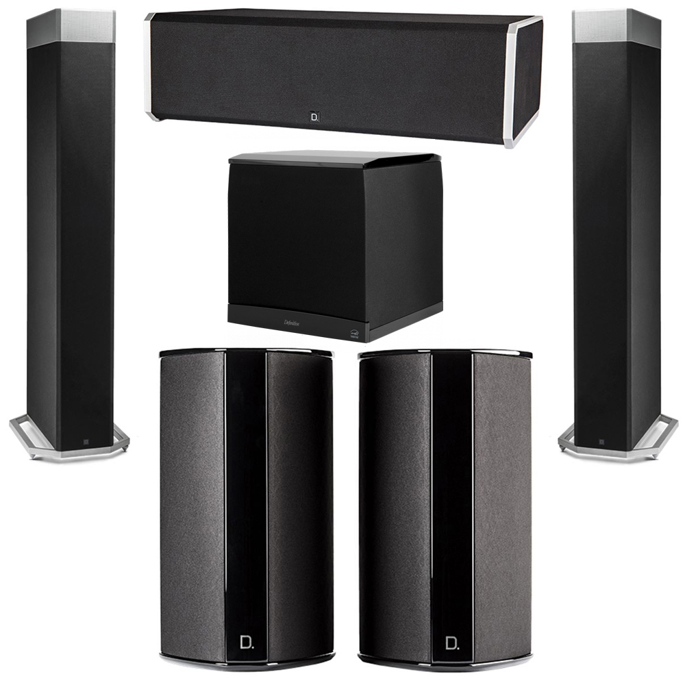 Definitive Technology 5.1 System with 2 BP9080X Tower Speakers, 1 CS9080 Center Channel Speaker, 2 SR9080 Surround Speaker, 1 Definitive Technology SuperCube 8000 Powered Subwoofer