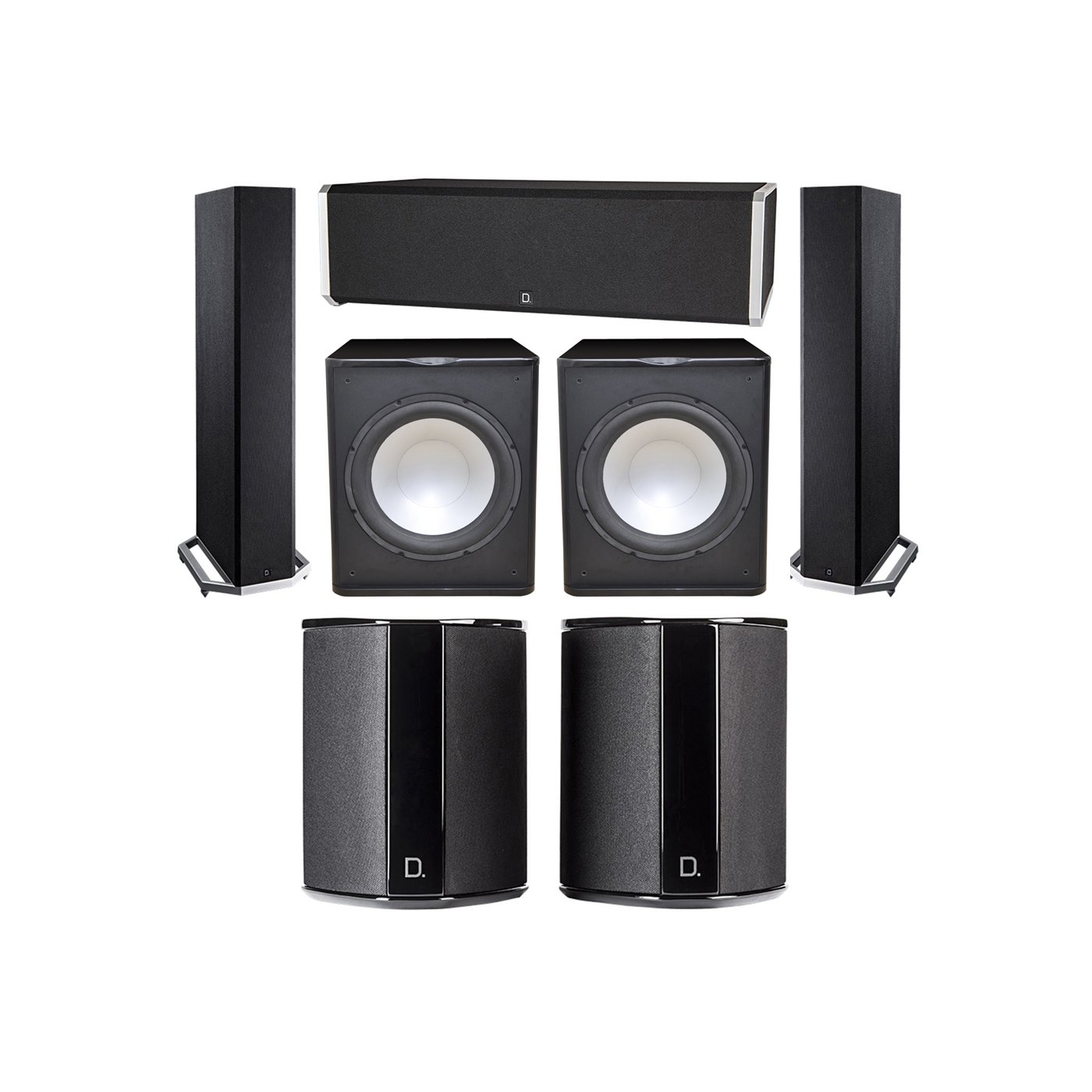 Definitive Technology 5.2 System with 2 BP9020 Tower Speakers, 1 CS9040 Center Channel Speaker, 2 SR9040 Surround Speaker, 2 Premier Acoustic PA-150 Subwoofer