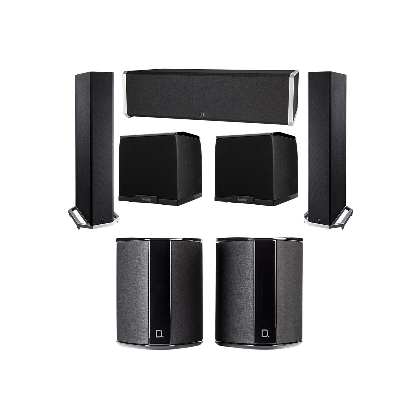 Definitive Technology 5.2 System with 2 BP9020 Tower Speakers, 1 CS9040 Center Channel Speaker, 2 SR9040 Surround Speaker, 2 Definitive Technology SuperCube 2000 Powered Subwoofer
