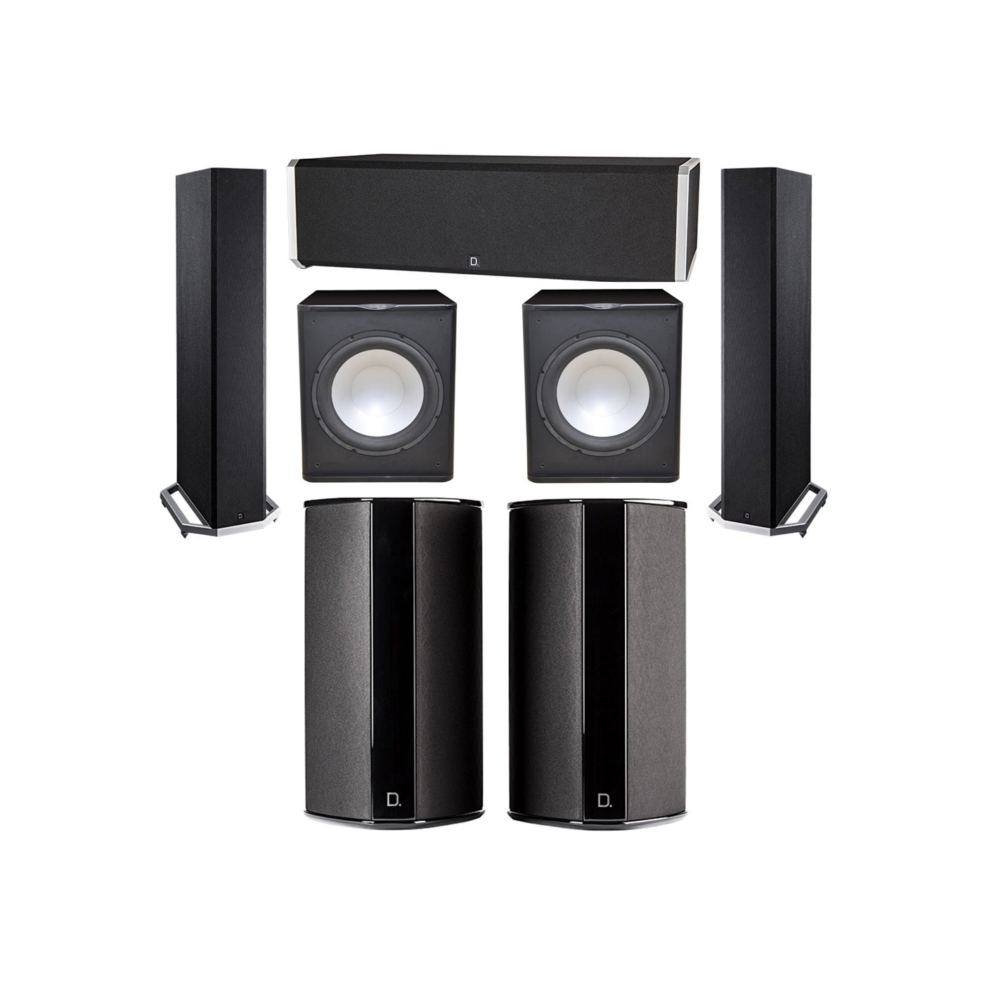 Definitive Technology 5.2 System with 2 BP9020 Tower Speakers, 1 CS9040 Center Channel Speaker, 2 SR9080 Surround Speaker, 2 Premier Acoustic PA-150 Subwoofer