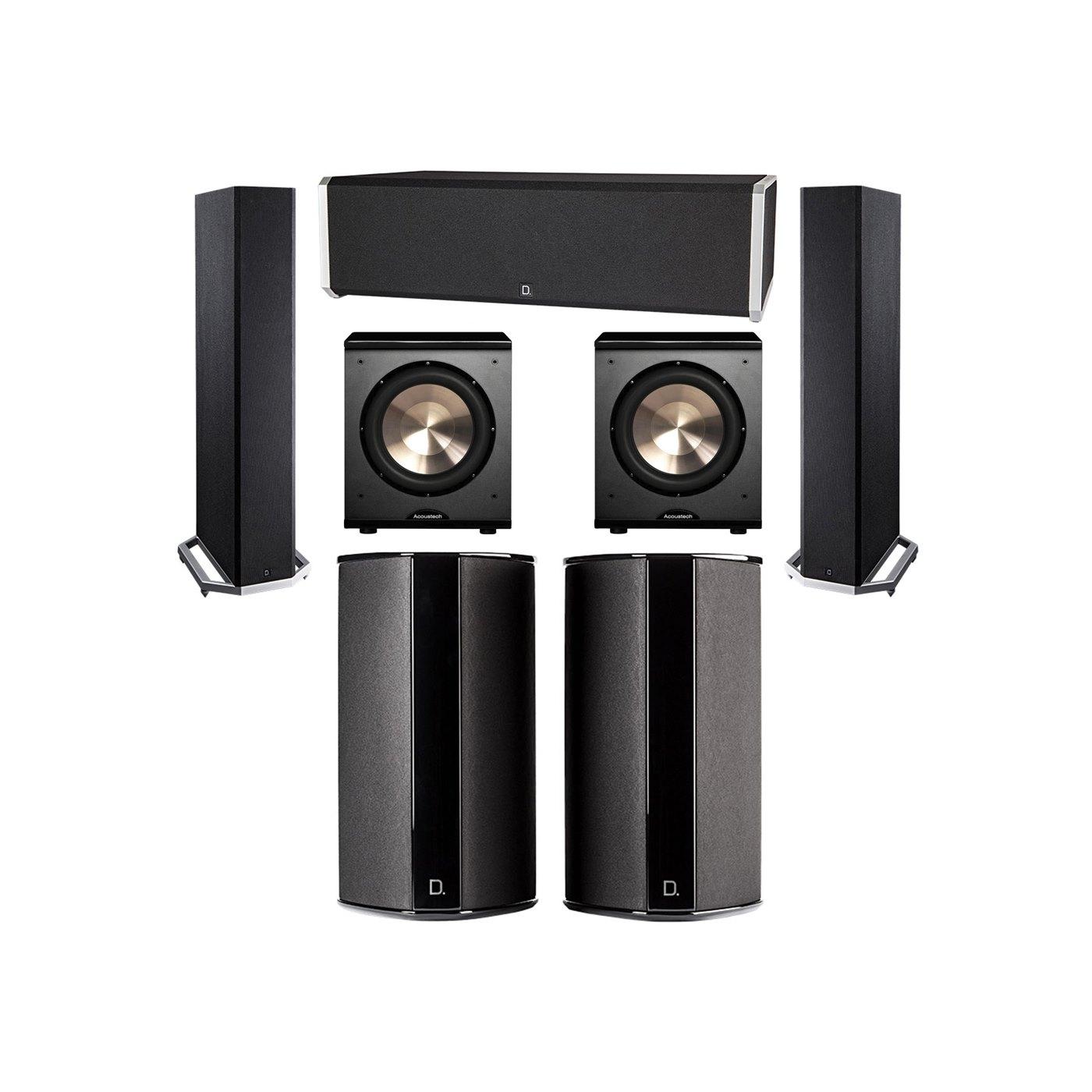 Definitive Technology 5.2 System with 2 BP9020 Tower Speakers, 1 CS9040 Center Channel Speaker, 2 SR9080 Surround Speaker, 2 BIC PL-200 Subwoofer