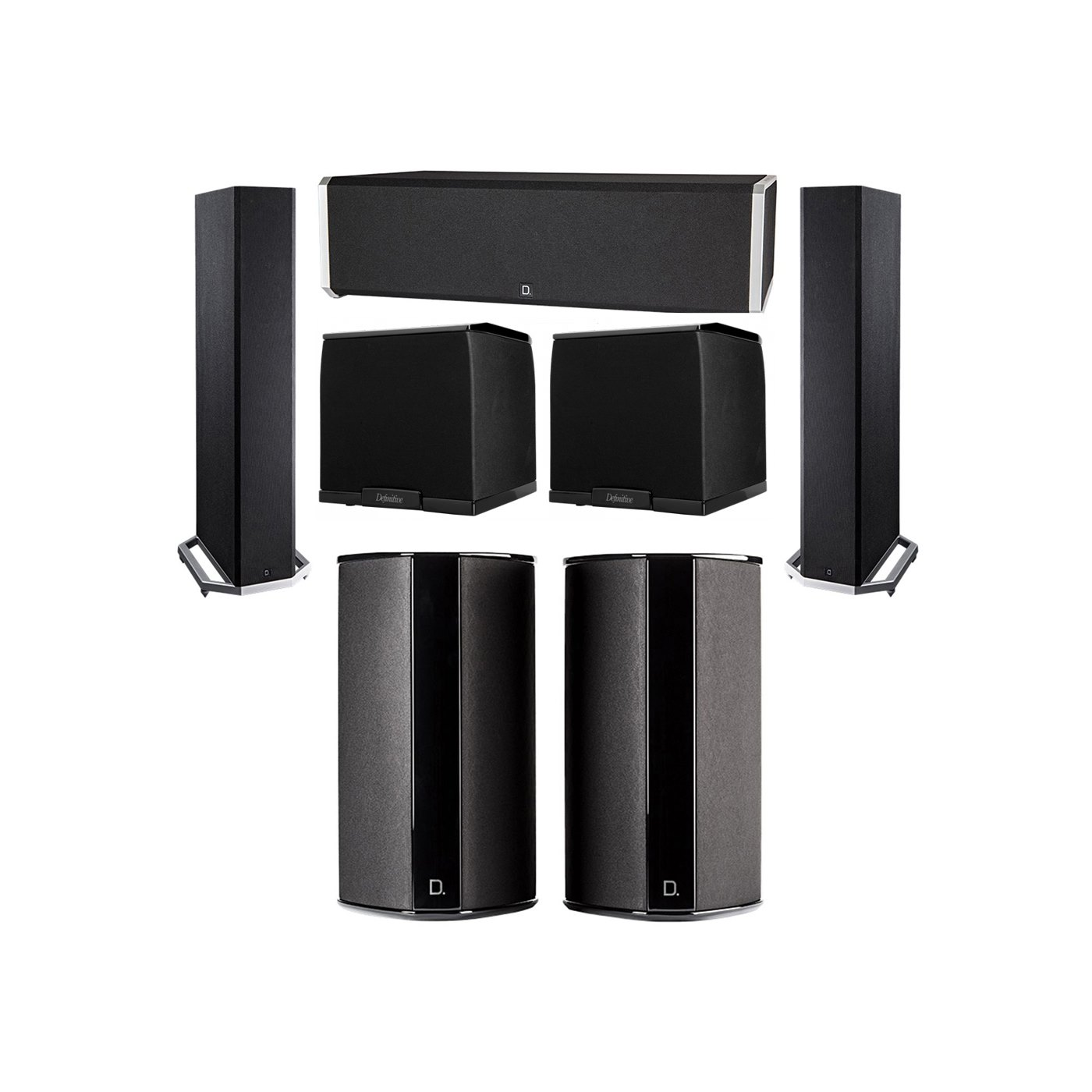 Definitive Technology 5.2 System with 2 BP9020 Tower Speakers, 1 CS9040 Center Channel Speaker, 2 SR9080 Surround Speaker, 2 Definitive Technology SuperCube 2000 Powered Subwoofer