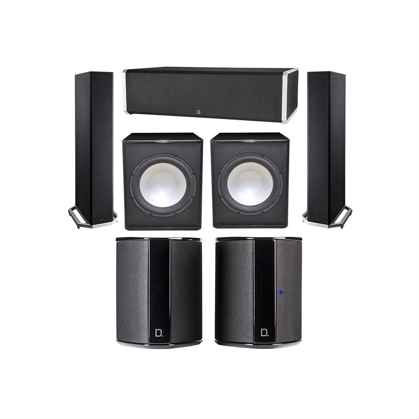 Definitive Technology 5.2 System with 2 BP9020 Tower Speakers, 1 CS9060 Center Channel Speaker, 2 SR9040 Surround Speaker, 2 Premier Acoustic PA-150 Subwoofer