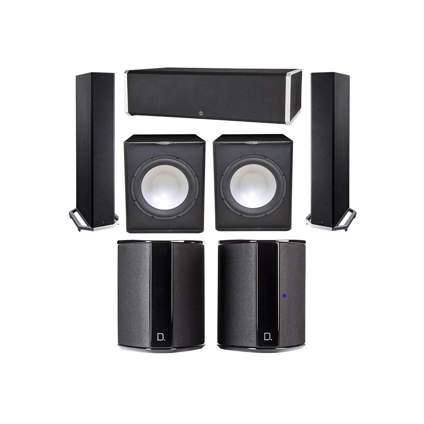 Definitive Technology 5.2 System with 2 BP9020 Tower Speakers, 1 CS9060 Center Channel Speaker, 2 SR9040 Surround Speaker, 2 Premier Acoustic PA-150 Subwoofer