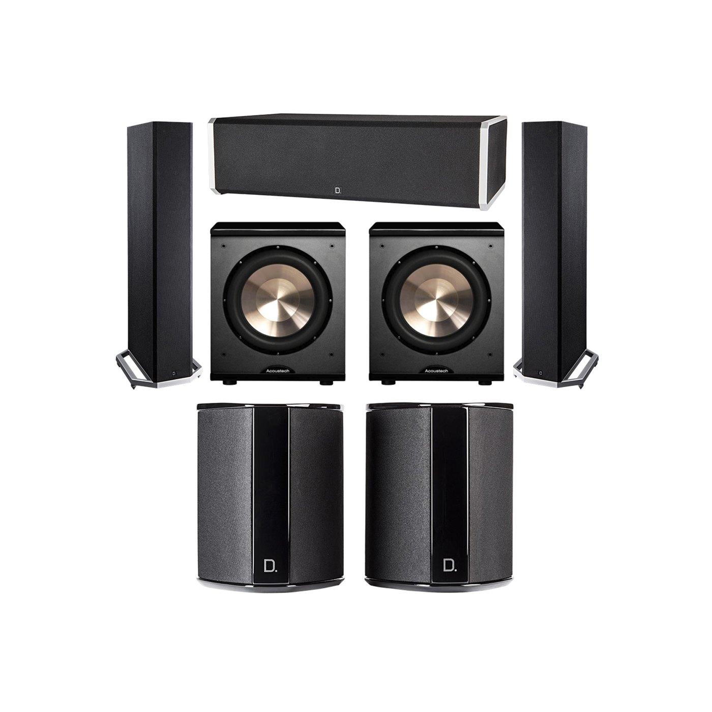 Definitive Technology 5.2 System with 2 BP9020 Tower Speakers, 1 CS9060 Center Channel Speaker, 2 SR9040 Surround Speaker, 2 BIC PL-200 Subwoofer