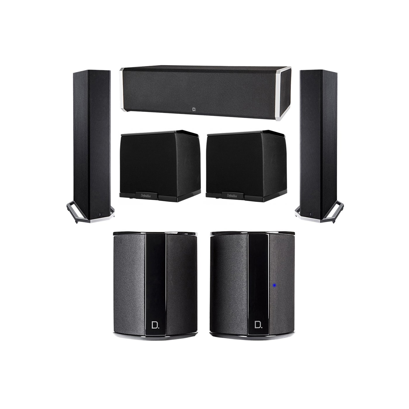 Definitive Technology 5.2 System with 2 BP9020 Tower Speakers, 1 CS9060 Center Channel Speaker, 2 SR9040 Surround Speaker, 2 Definitive Technology SuperCube 2000 Powered Subwoofer