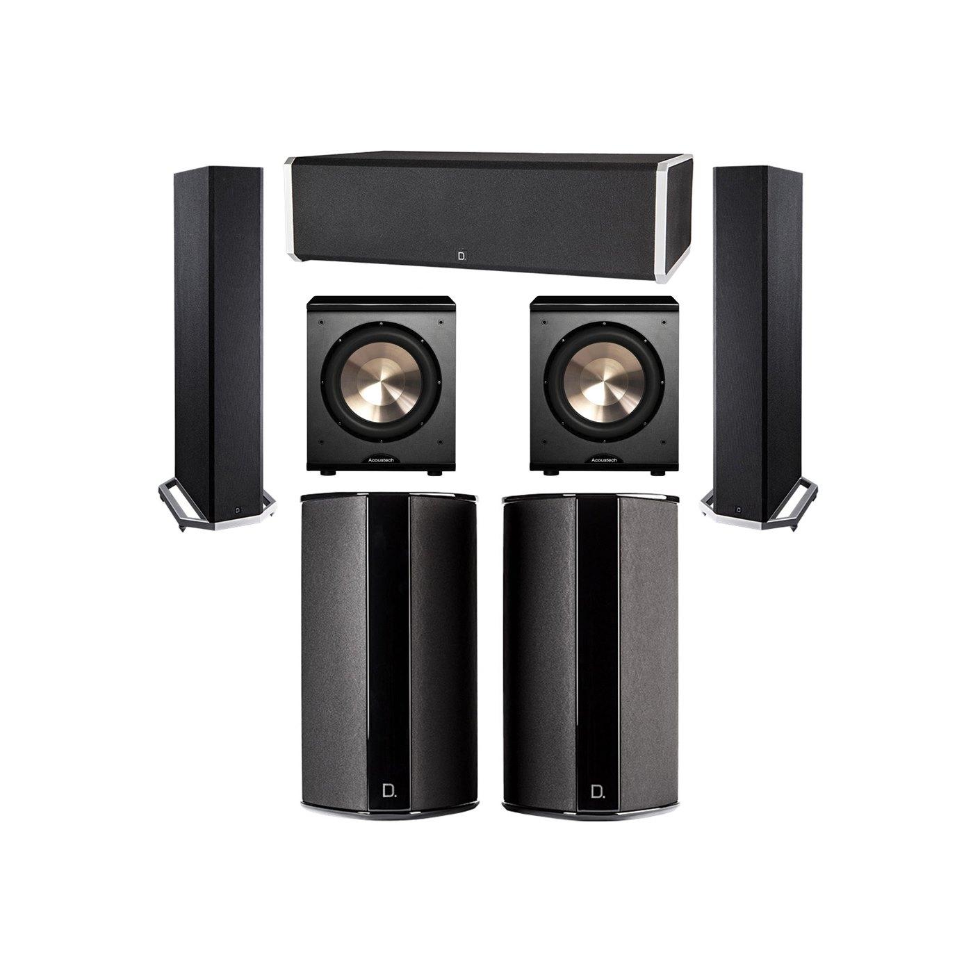 Definitive Technology 5.2 System with 2 BP9020 Tower Speakers, 1 CS9060 Center Channel Speaker, 2 SR9080 Surround Speaker, 2 BIC PL-200 Subwoofer