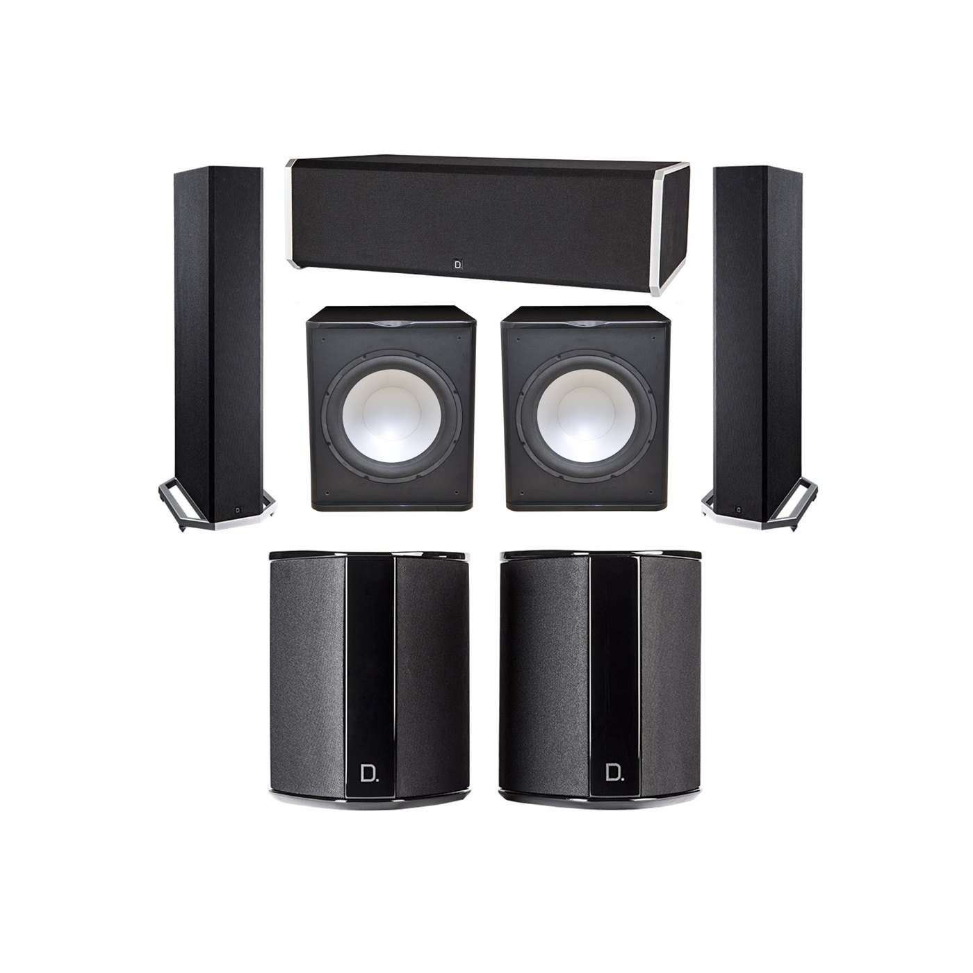 Definitive Technology 5.2 System with 2 BP9020 Tower Speakers, 1 CS9080 Center Channel Speaker, 2 SR9040 Surround Speaker, 2 Premier Acoustic PA-150 Subwoofer